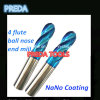 60HRC Nano Coated 4 Flutes Ball Nose End Mills