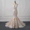 Realer gebildeter heißer Verkauf hellrosa Nixe-Hochzeits-Kleid