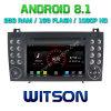 Processeurs quatre coeurs Witson Android 8.1 DVD de voiture GPS pour Mercedes-Benz SLK200/SLK280/SLK350/Slk55 2004-2012 Appuyer la pleine Sortie vidéo à Sub-Monitor comme lien miroir