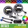Control de teléfono Bluetooth RGB Jeep mayorista Angel Eyes 7pulgadas Ronda Halo faros LED