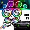Управление Bluetooth телефона изменение цвета RGB Halo кольцо 4 дюйма DRL противотуманного фонаря 7 дюйма Круглые светодиодные фары для диалога на джипах комплекты