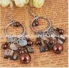 Perlas de vidrio marrón Boheian Accesorios Bisutería pendientes chapado en plata de Antigüedades Ecológico (PE-027)