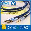 Blauer Hanf, der 3.5mm bis 3.5mm Audios-Kabel strickt