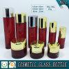 Produits de beauté en verre colorés rouges bouteille et choc crème en verre de produit de beauté