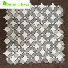 Ming 녹색 대리석 메시에 혼합 백색 Thassos 해바라기 패턴 대리석 모자이크 타일