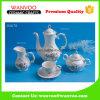 Impressão de mão de chá de porcelana de beira dourada