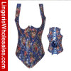 Corsé atractivo de la ropa interior floral azul de Overbust de la manera