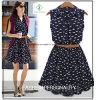 Nouveau design de mode femmes col chemise coton robe Casual Factory