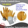 Блокировка вещевого ящика с желтым Anti-Microbial нитриловые покрытие и открытая сзади и крепкие запястья/ EN388: 4111/ экономичного стиля (YS-091E)