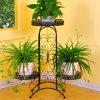 La planta elegante de la pista del sostenedor del estante del crisol de flor del hierro del metal de 3 gradas coloca el negro blanco de bronce disponible