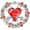 Braceletes frisados vermelhos de prata europeus do encanto (GQ91)