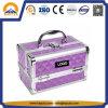 L'exécution Diamond Purple Beauty Case boîte en aluminium avec bacs et le rétroviseur (HB-2038)