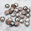 Custom Logo de fleurs perlés Bague en laiton de métal Griffe Bouton fixations
