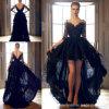 V Muffen-Spitze-Abschlussball-formales Kleid-Schwarz-Hallo-Niedriges kurzes Abend-Kleid Yao128