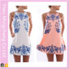 2016 neues Design Women Fashion Sweet Printing Blue und White Vest Dress