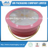 Handle & PVC Window Luxury Rigid Cardboard Pink Big Round Box