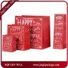 Red Papai Noel Corporate Art Paper Printed Bags com Glister