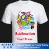 Kundenspezifisches Drucken-Sublimation-Leerzeichen-Ebenen-Baumwollt-shirt 100%