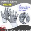 7g отбеленные полиэстер / хлопок трикотажные перчатки с 2-х сторон Черный Сеть-Shape ПВХ Dots