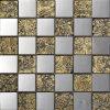 Folha de ouro com mosaicos de vidro castanho de Aço Inoxidável