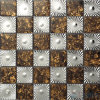 Mosaicos de vidro laminado marrom com Metal ondulada irregular