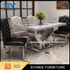 Jantando a tabela de jantar superior de mármore do aço inoxidável da mobília