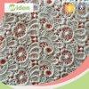 Padrão floral popular tecido de renda de algodão orgânico solúvel em água