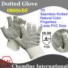 7g Natural Color полиэстер / хлопок трикотажные пальцев перчатки с 2-х сторон черный ПВХ точек / EN388: 112X