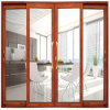 Porte d'entrée coulissante en verre décorative intérieure en aluminium d'entrée avec des traitements