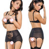 Неплоскостность привалочной поверхности Garter женщин черный кружевной точки зрения порванный жгут эротических Sexy белье Hot Sexy белье открытые бюст сексуальные костюмы