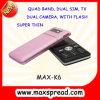 Telefone móvel duplo da tevê da faixa SIM do quadrilátero K6, câmera dupla com flash, MSN