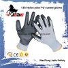 перчатка черноты ладони 13G Гэри Lind покрынная PU трудная