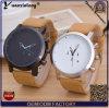 Relógio de couro ocasional das mulheres do Mens de Backcase do aço inoxidável do Mvmt do relógio de quartzo do negócio Yxl-380