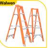 De nieuwe Glasvezel van de Stap van het Aluminium van de Kleur van het Ontwerp Oranje een Ladder van het Frame met Plastic Dienblad