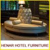 Mobilia dell'ingresso dell'hotel impostata/disposizione dei posti a sedere del salotto/sofà sezionale cuoio rotondo del Faux