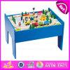 2015 Melhor qualidade de comboios de madeira ferroviária de brinquedos para crianças, Banheira de venda o bloco de madeira da Toy, 60/S Conjunto Trem de madeira com mesa W04D007