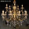 Klassisches Hotel, das 16 Leuchte-helles Goldkristallkerze-Leuchter beleuchtet