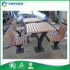 Tabla del metal y sillas/tabla al aire libre comerciales del jardín del hierro, tabla de comida campestre con los asientos traseros (FY-051HB)