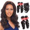 Afrouxar o cabelo preto humano da onda para mulheres