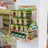 Visualización de encargo del alimento del montaje de la pared del supermercado con una cabecera de la insignia