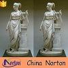 Escultura de mármol blanco tallada a mano de mármol blanca de la nieve con la base Ntms0075L