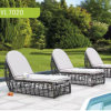 Modern Tubo PE Rattan Outdoor Chaise Lounge