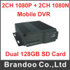 H. 264 1080P 4CH Carro Mobile DVR com 4G e cartão SD duplo do GPS