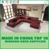 Base de sofá de cuero tapizada roja de los muebles caseros de lujo