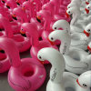 Anel inflável da nadada do flamingo do PVC da cor cor-de-rosa