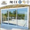 Porte coulissante des prix d'usine de coût bas de la fibre de verre UPVC de bâti en plastique bon marché de profil avec le gril à l'intérieur en vente