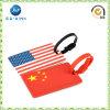 Tag de borracha macio plástico personalizado da bagagem do couro do silicone do PVC (JP-LT012)