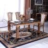 Mesa de jantar moderna de ouro com top de mármore