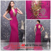 Bainha/cetim Elevado-Neck Formal Evening Dress de Column Elastic com Cap Sleeves e Crystals (23111)
