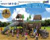 Campo de jogos de madeira das crianças da caraterística do telhado com corrediça Hf-10301